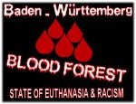 flag blood forest warning no bw