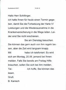 JVA Kanisch Brief anonym